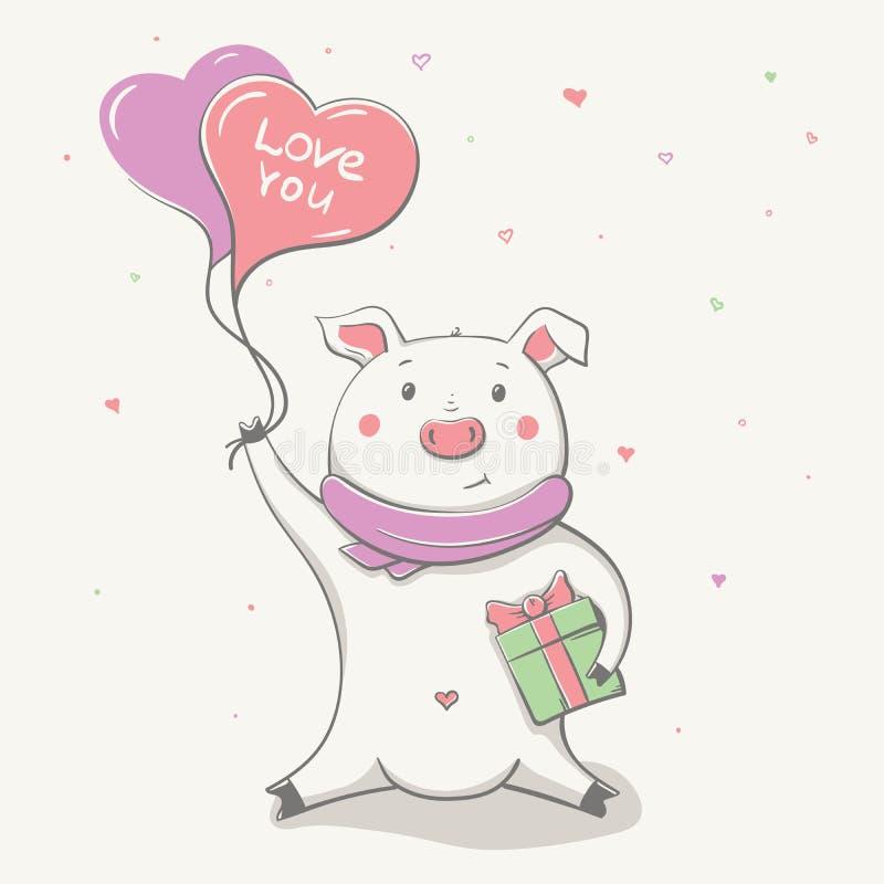 Beau porcin gai mignon avec le coeur et le présent de ballon Carte de Valentine illustration de vecteur