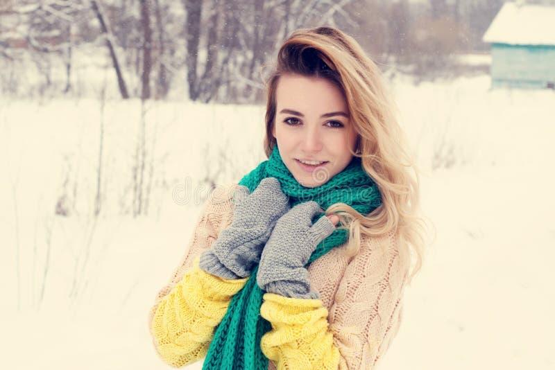 Beau portrait d'hiver de jeune femme dans le paysage neigeux d'hiver photos stock