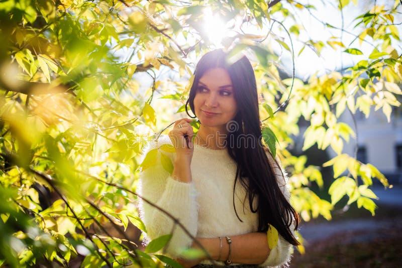 beau portrait de femme extérieur avec le backgrou tôt de parc d'automne images stock