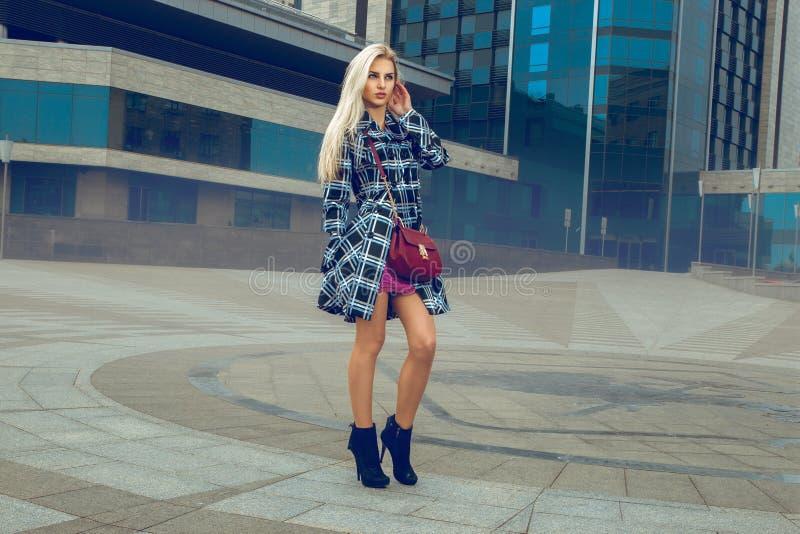 Beau portrait de mannequin avec les cheveux blonds et ey bleu photographie stock