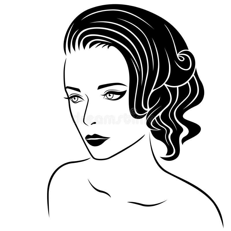 Beau portrait de moitié-tour de femmes illustration de vecteur