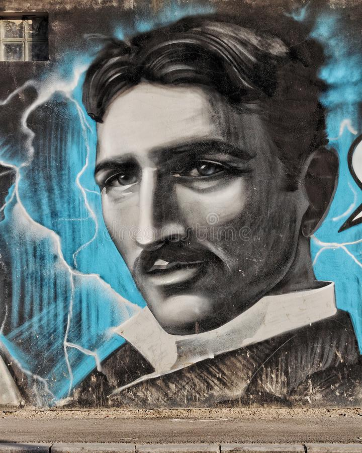 Beau portrait de Nikola Tesla photos stock