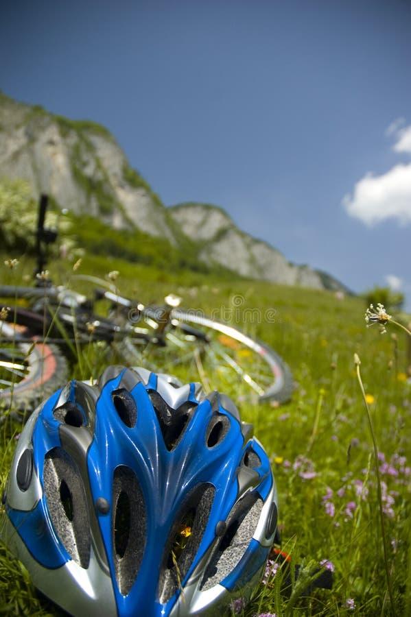 Beau pré avec les fleurs et la bicyclette photo stock