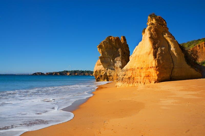 Beau Praia de plage d'Algarve DA Rocha au Portugal photos libres de droits