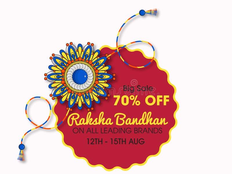 Beau rakhi avec le fond pour des célébrations heureuses de Raksha Bandhan illustration de vecteur