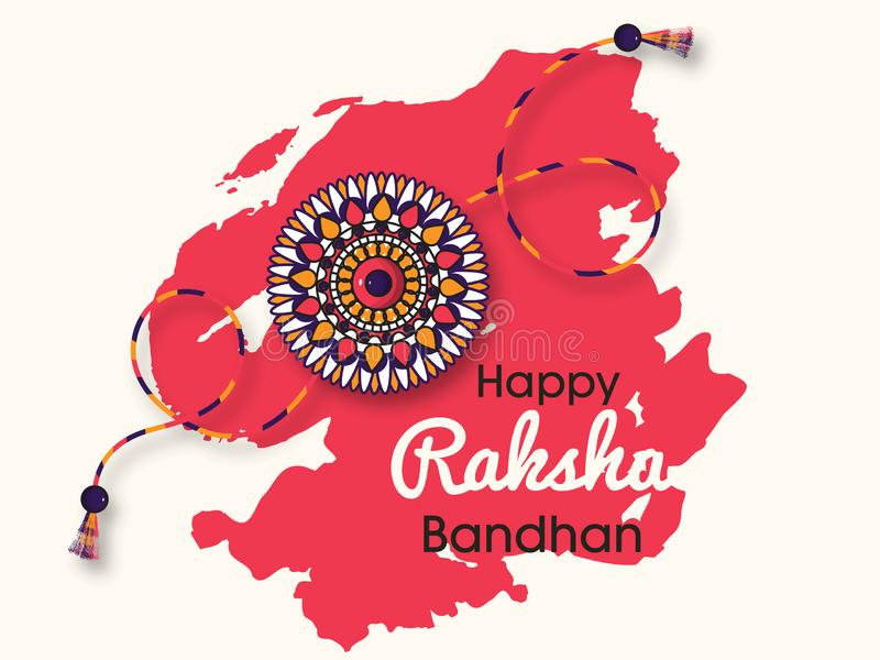 Beau rakhi avec le fond pour des célébrations heureuses de Raksha Bandhan illustration libre de droits