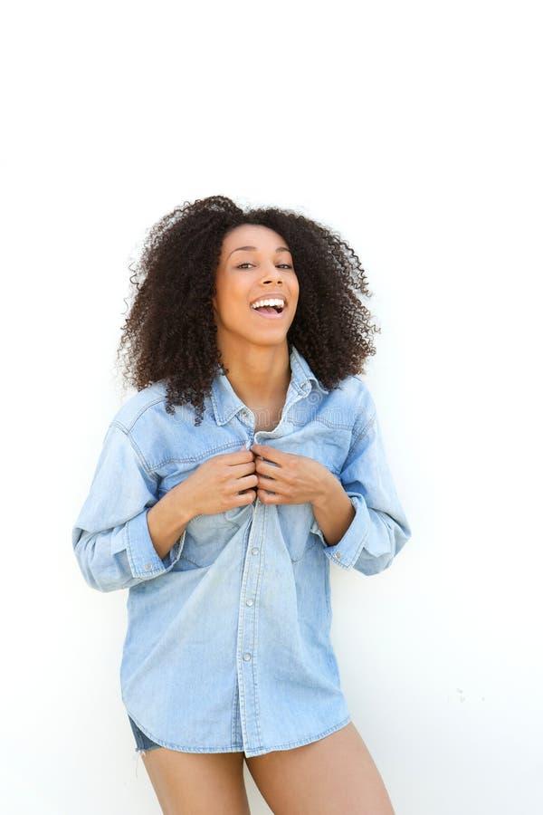Beau rire de femme d'afro-américain photo libre de droits