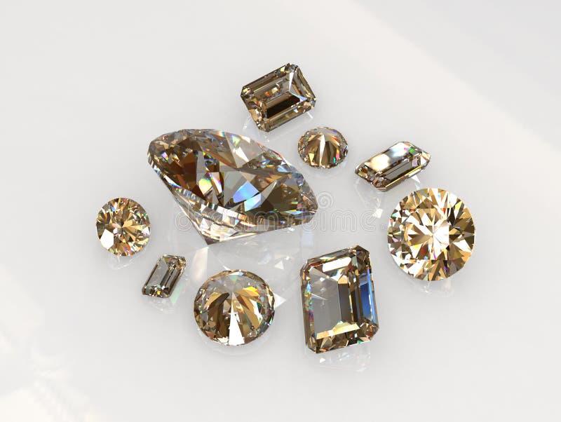 Beau rond réglé et l'émeraude ont coupé des pierres de diamant image stock