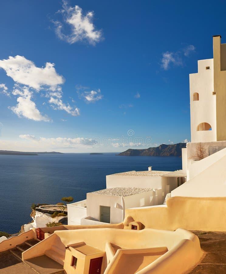 Beau Santorini en Grèce, vue de caldeira de village d'Oia image libre de droits