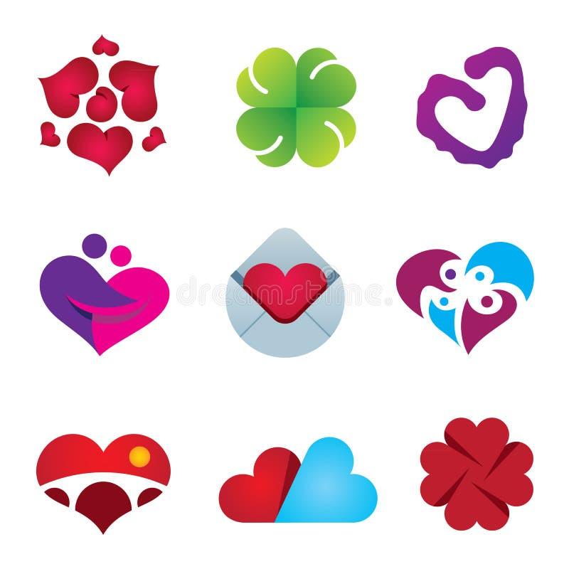 Beau sentiment d'ensemble d'icône de conception de coeur d'émotion d'amour illustration stock