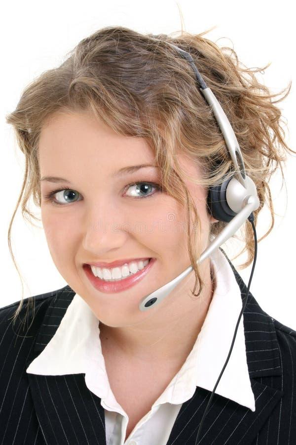 Beau service à la clientèle de sourire ou préposé du service de ventes photos libres de droits