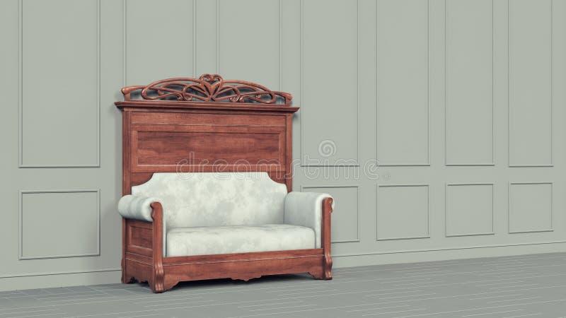 Beau sofa intérieur classique gris, grande conception pour tous buts blanc vide de pi?ce 3d élégant moderne rendre la conception  illustration de vecteur