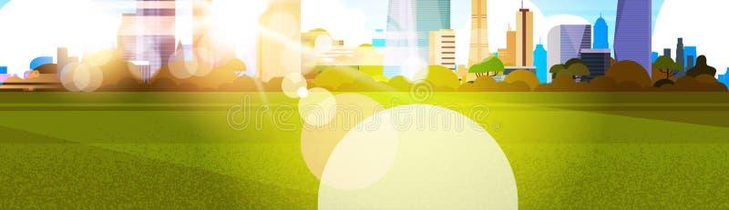 Beau soleil au-dessus de vue de ville, concept de paysage urbain de bâtiments de gratte-ciel de lumière du soleil illustration libre de droits