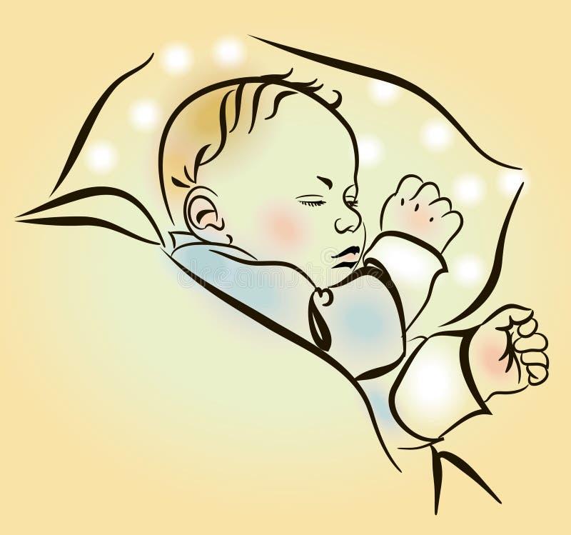 Beau sommeil nouveau-né dans la huche illustration stock