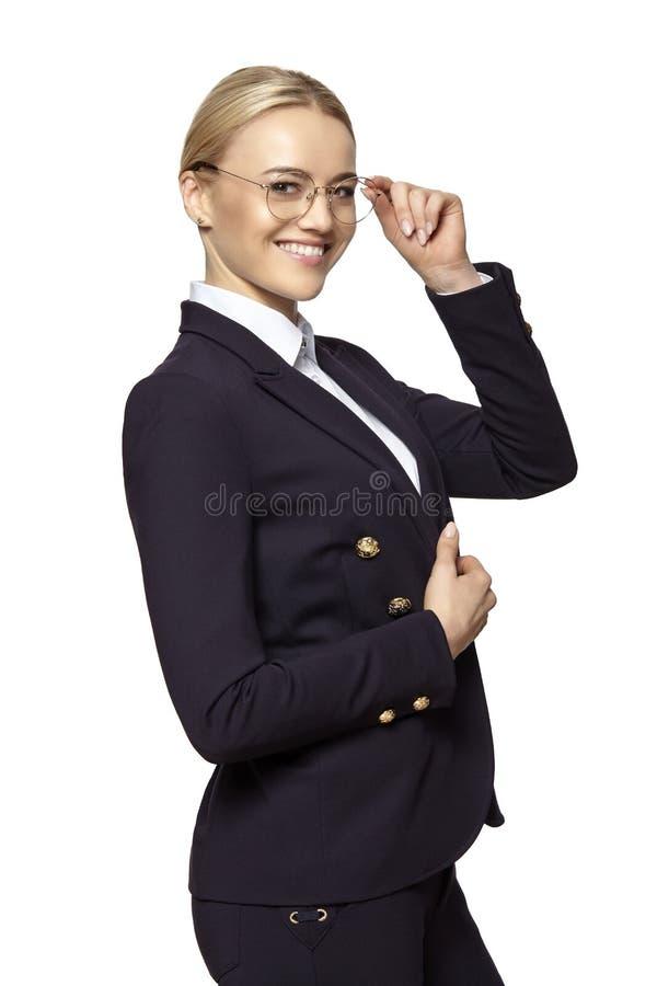 Beau sourire blond heureux de femme image libre de droits