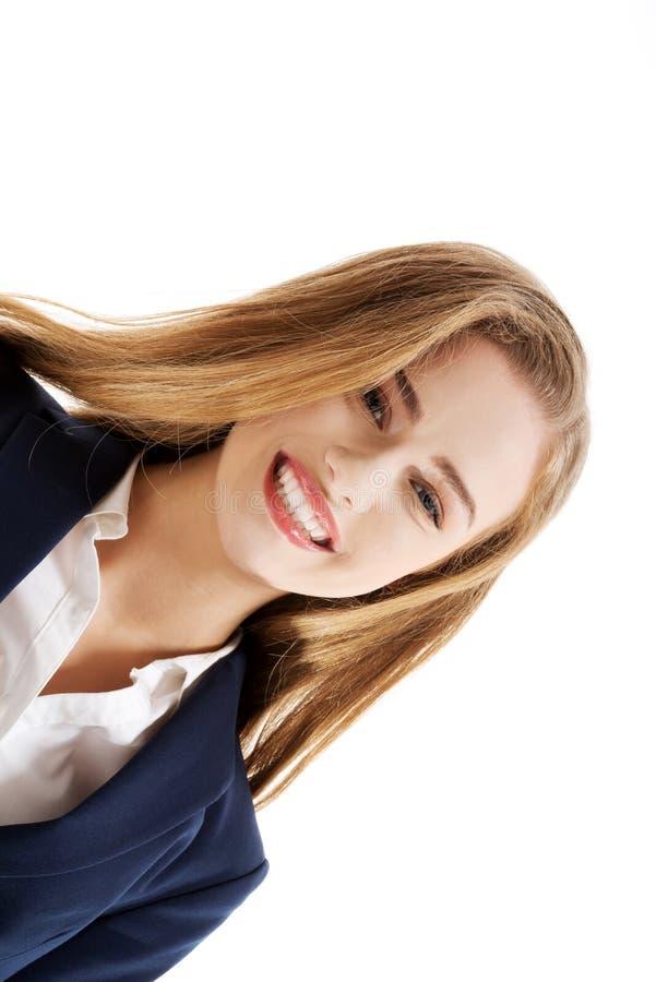 Beau sourire caucasien de femme d'affaires. images libres de droits