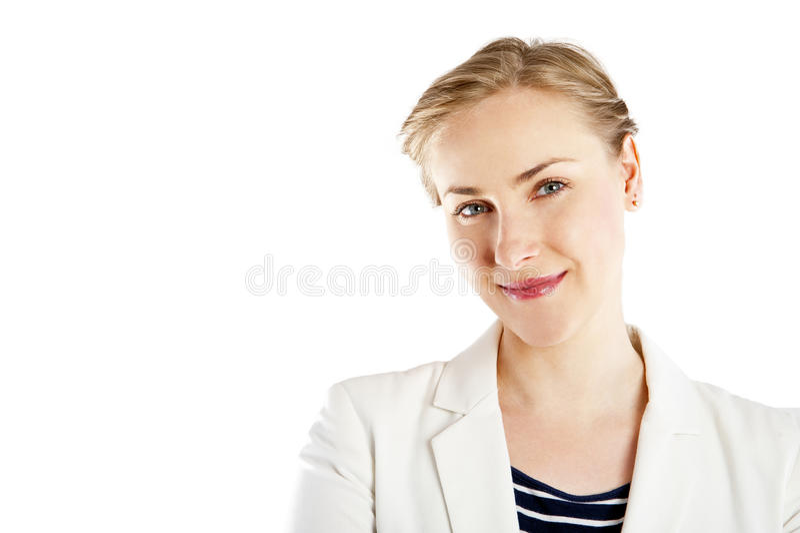 Beau sourire heureux de femme d'isolement sur le fond blanc images stock