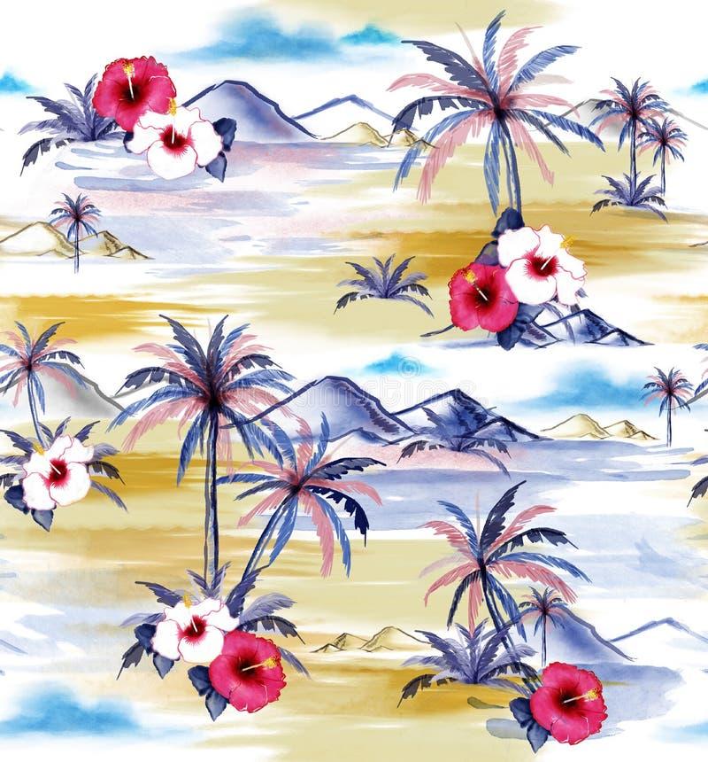 Beau style de Hawaïen d'île de peinture d'aquarelle de dessin de main illustration de vecteur