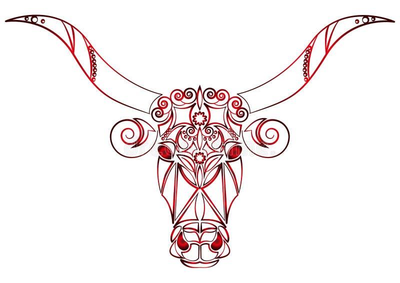 Beau style tribal tiré par la main Taureau avec les yeux furieux rouges Un animal terrible Vintage à la mode de vecteur philosoph illustration stock