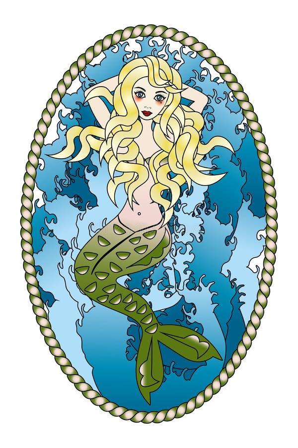 Beau tatouage de sirène illustration libre de droits