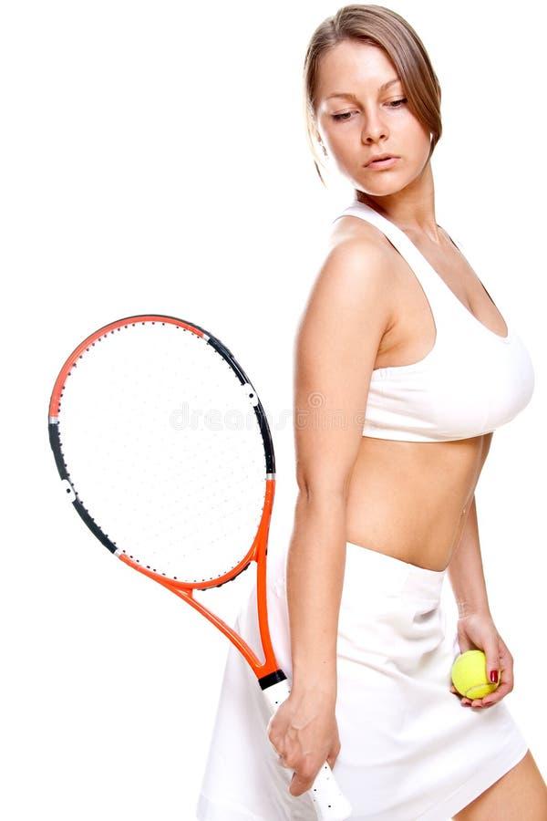 beau tennis de raquette de fille photographie stock libre de droits