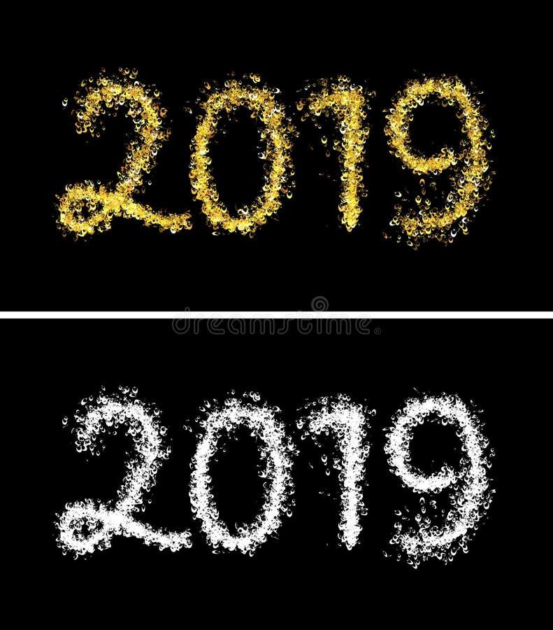 Beau texte brillant brillant 2019 des particules légères en croissant d'or illustration de vecteur