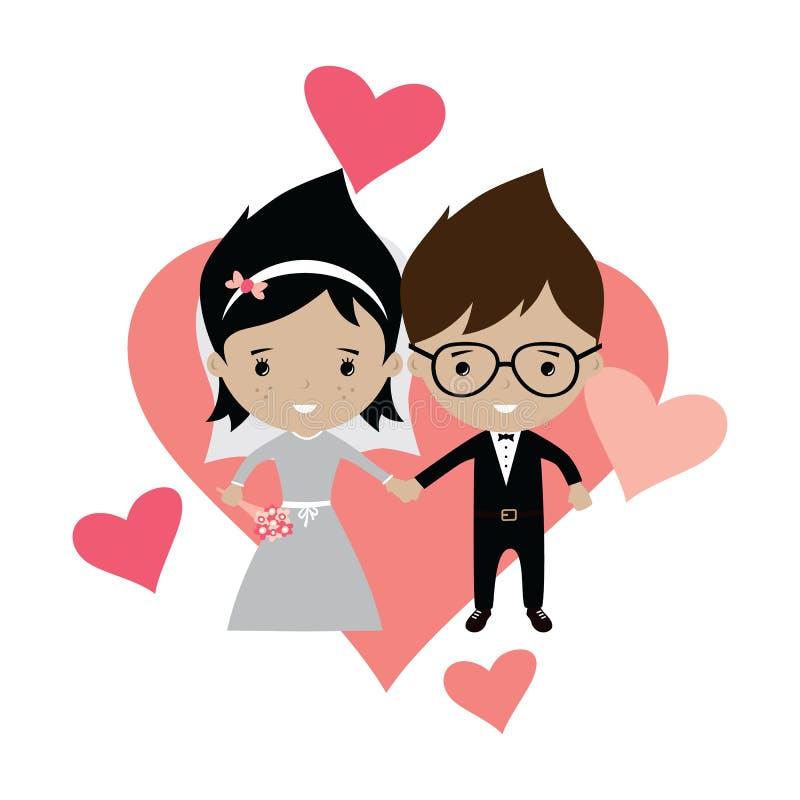 beau thème adorable de bande dessinée de mariage de marié et de jeune mariée illustration libre de droits