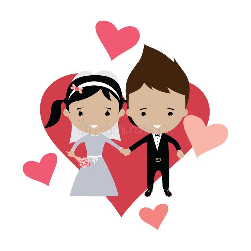 beau thème adorable de bande dessinée de mariage de marié et de jeune mariée illustration de vecteur