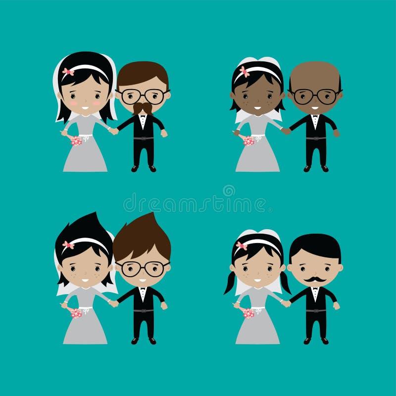 beau thème adorable de bande dessinée de mariage de marié et de jeune mariée illustration stock