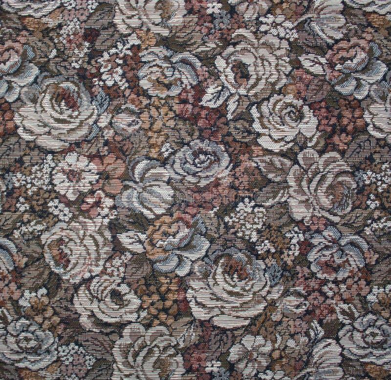 Beau tissu avec des fleurs. Gobelin. image stock