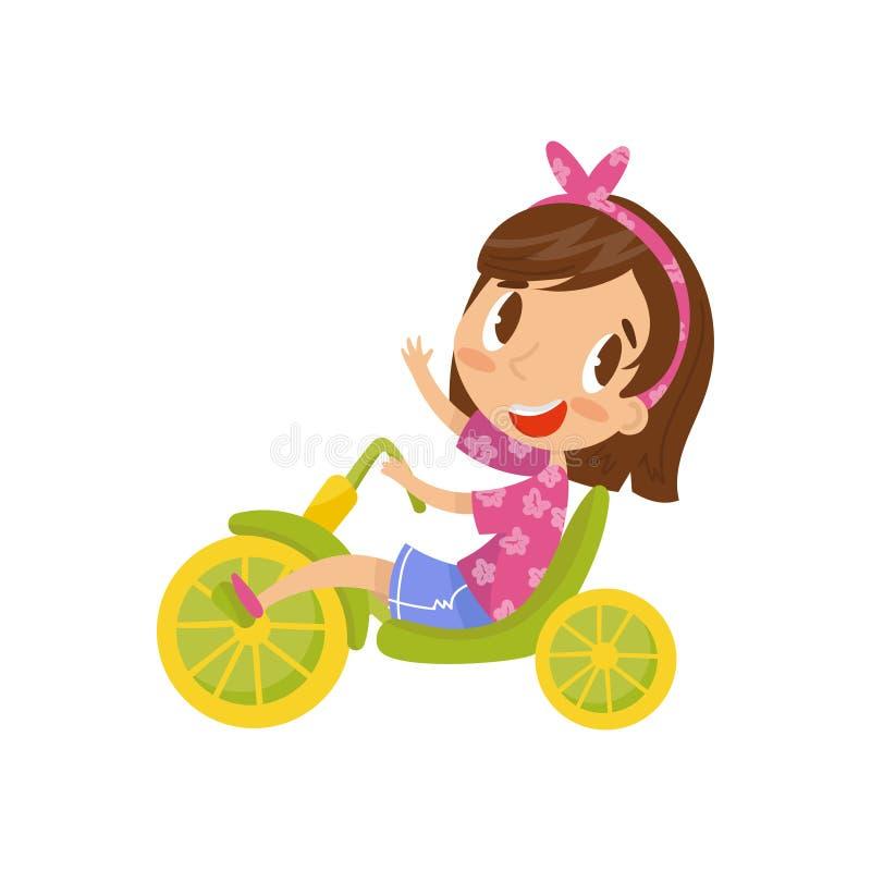 Beau tricycle d'équitation de petite fille, illustration mignonne de vecteur de personnage de dessin animé sur un fond blanc illustration libre de droits