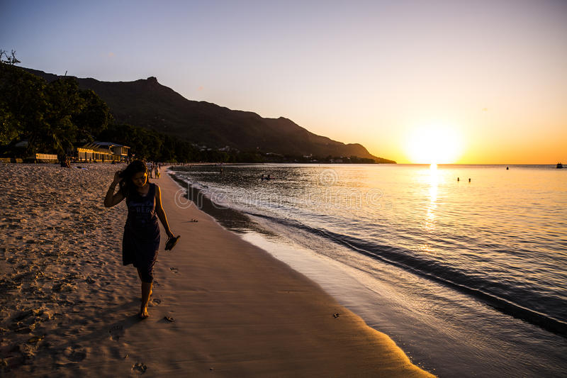 Download Beau Vallon Beach stock image. Image of water, sunset - 79660037