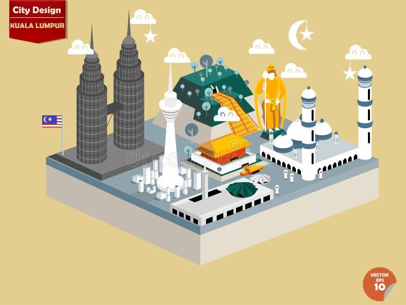 Beau vecteur de conception de Kuala Lumpur Malaisie illustration libre de droits