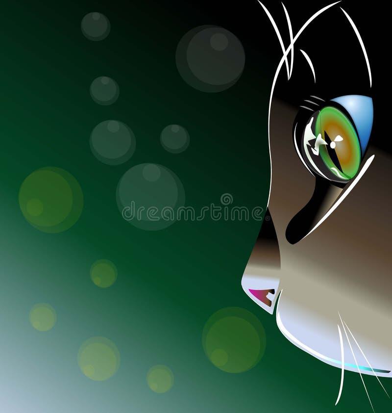 Beau vecteur de logo de visage de chat illustration stock