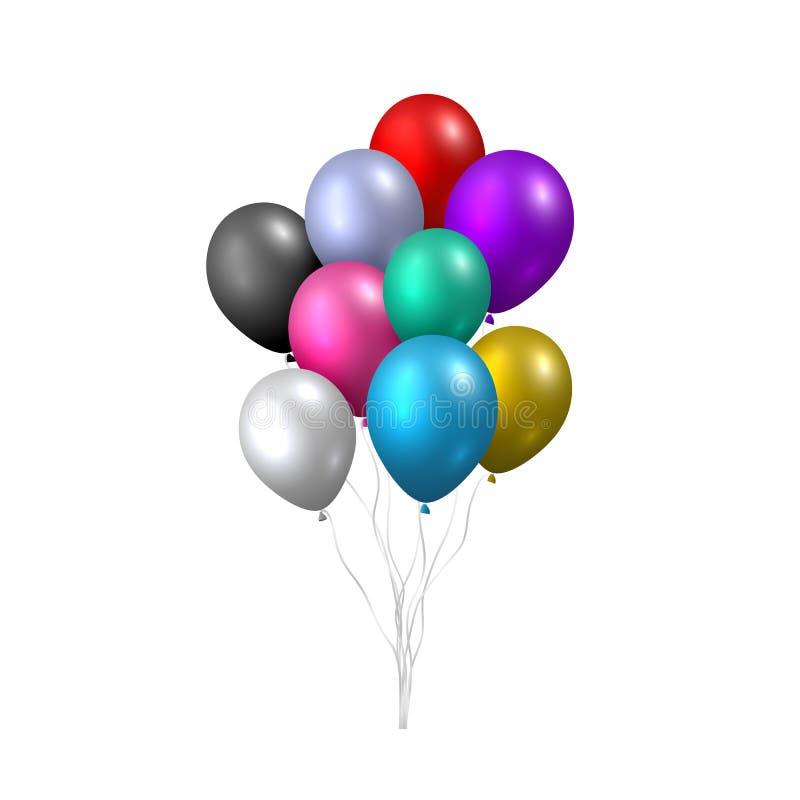 Beau vecteur réaliste avec un paquet de ballons volants colorés de partie sur le fond blanc illustration libre de droits