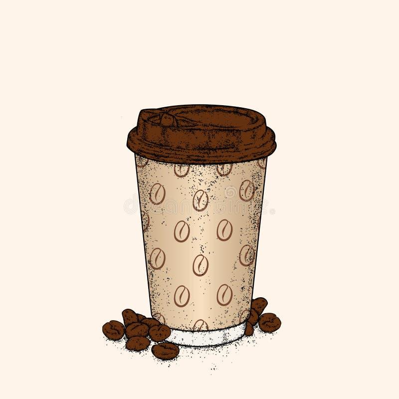 Beau verre avec du café Illustration de vecteur Concept prêt illustration stock