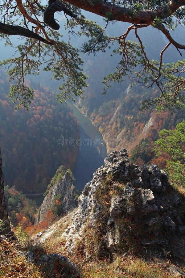 Beau vief de montagne de Sokolica de rivière de Dunajec dans Pienin photos libres de droits