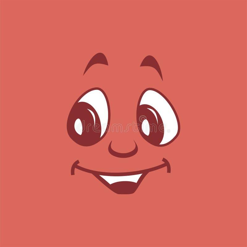 Beau visage attrayant gentil sur un fond pourpre-rouge illustration stock