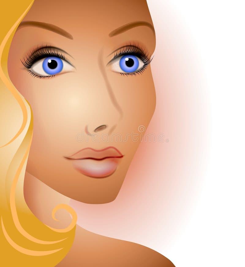 Beau visage blond de femme illustration de vecteur
