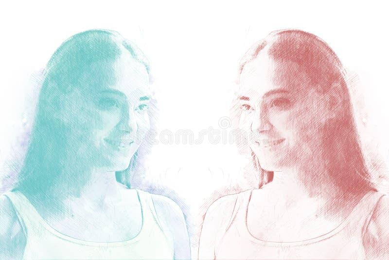 Beau visage coloré de sourire de fille de l'Asie sur la peinture d'aquarelle illustration stock