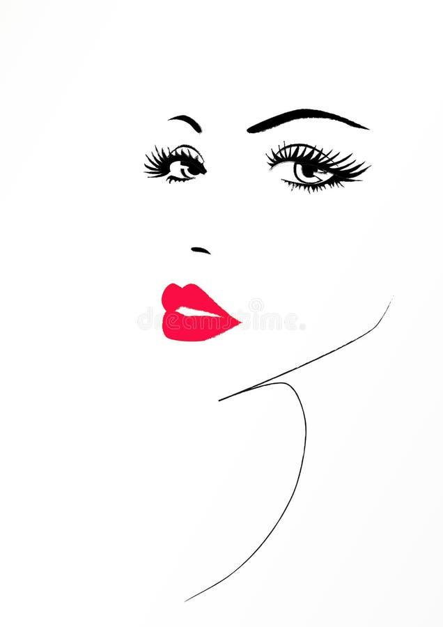 Beau visage d'une femme avec lèvres sexy rouges, illustration de vecteur illustration libre de droits