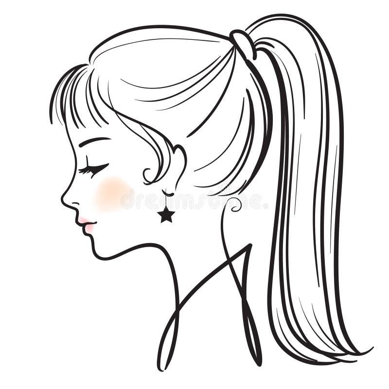 Croquis De Lineart De Visage De Femme Illustration Stock