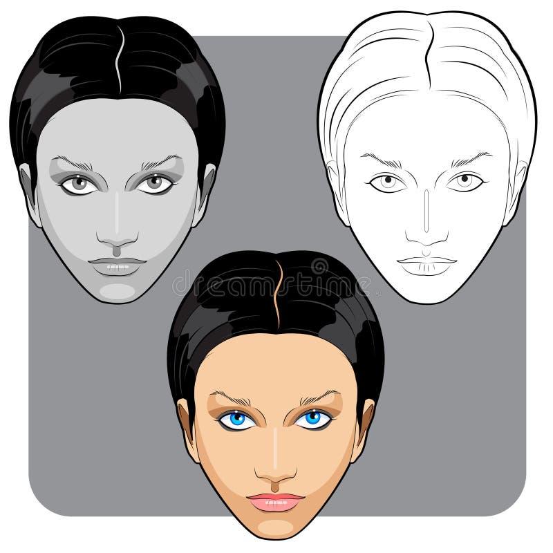 Beau visage de femme blanche images stock