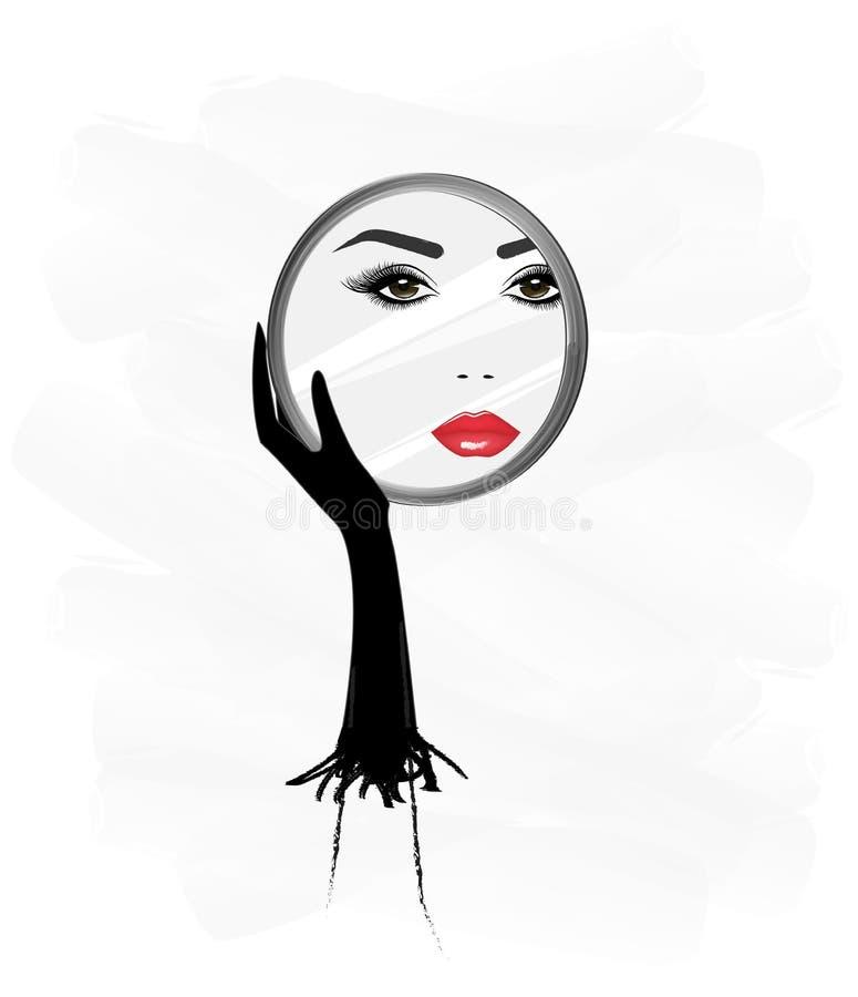 Beau visage de femme, reflaction dans un miroir rond, cela qu'elle se tient dans sa main, illustration verticale de vecteur, b illustration de vecteur