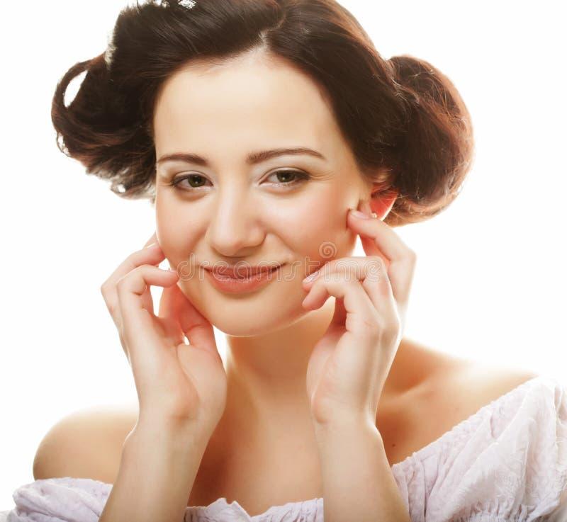 Beau visage de femme de sant? avec la peau propre de puret? photo stock