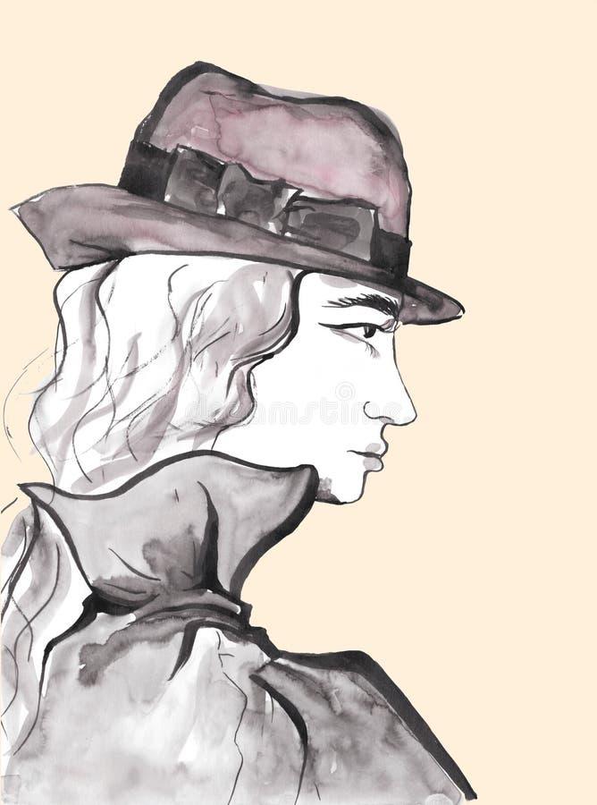 Beau visage de fille dans le profil Portrait de Madame Wearing Hat illustration de vecteur