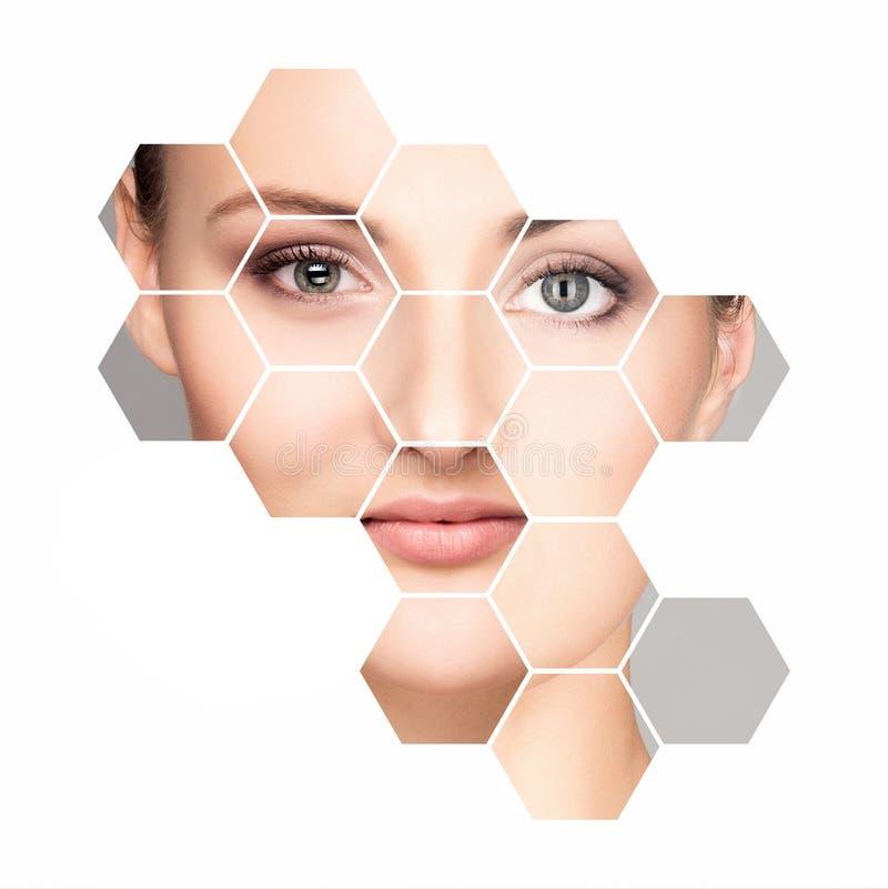 Beau visage de jeune et en bonne santé femme Chirurgie plastique, soins de la peau, cosmétiques et concept de levage de visage photo stock