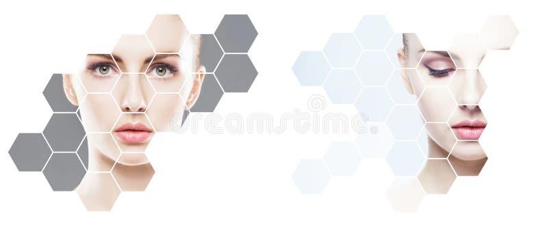 Beau visage de jeune et en bonne santé fille en collage Chirurgie plastique, soins de la peau, cosmétiques et concept de levage d images stock