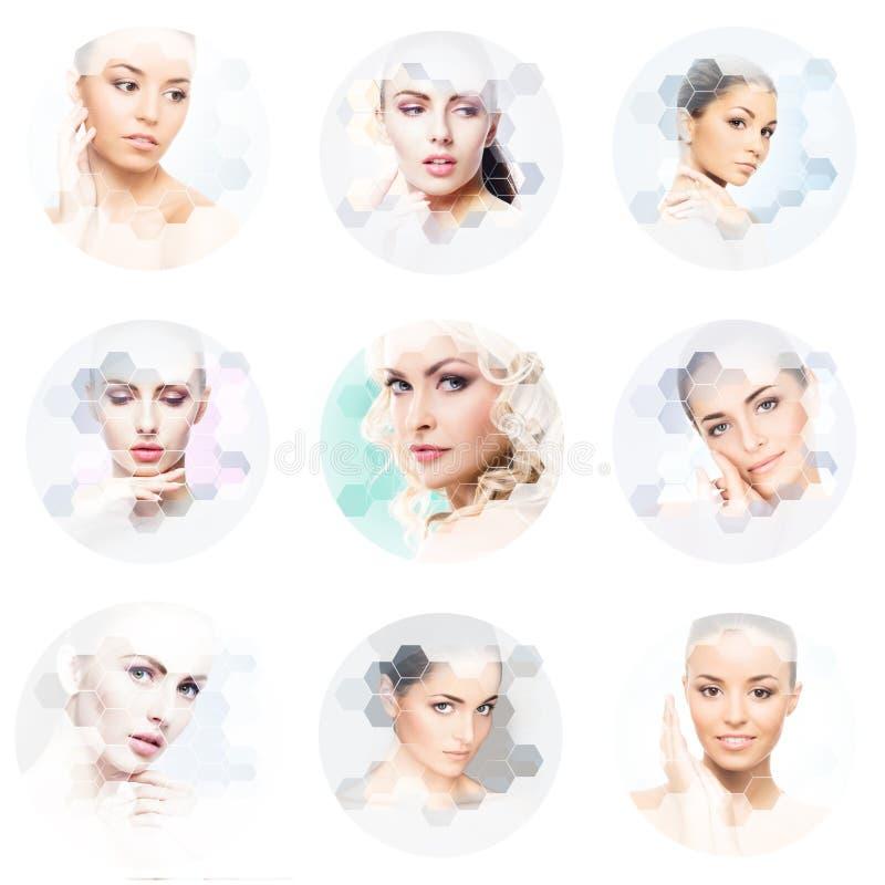 Beau visage de jeune et en bonne santé fille en collage Chirurgie plastique, soins de la peau, cosmétiques et concept de levage d photographie stock
