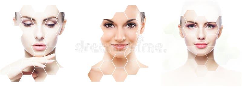 Beau visage de jeune et en bonne santé fille en collage Chirurgie plastique, soins de la peau, cosmétiques et concept de levage d photographie stock libre de droits